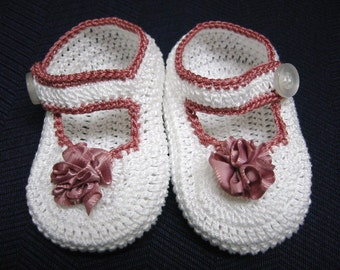 Crochet Baby Booties Dusty Rose Mary Janes Newborn Reborn Girl