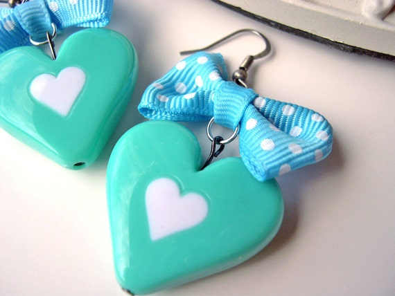 Fairy Kei Heart And Bow Earrings lolita