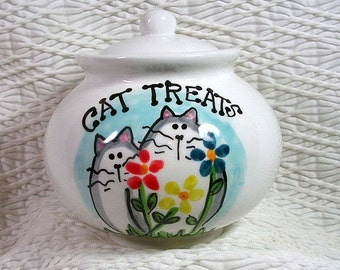 Cats & Flowers Ceramic Treat Jar With Lid Handmade by GMS Kiln Fired