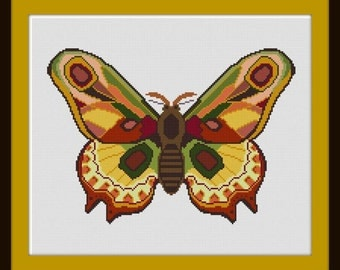 Large Colorful Moth  Cross stitch pattern PDF