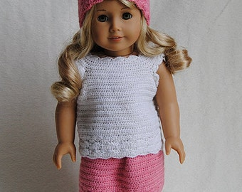 Instant Download - PDF Crochet Pattern - American Girl Doll Clothes 35 - Top, Skirt and Hat