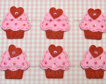Set of 6pcs handmade felt cupcake--baby pink/devil red (FT008)