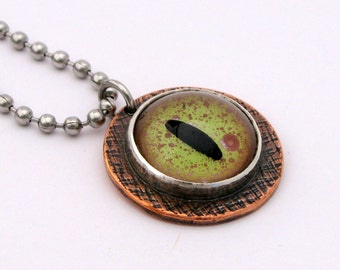 Copper and Sterling Silver Alligator Eye Necklace