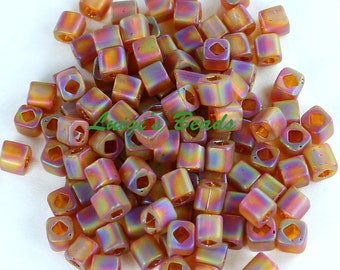 15g Trans-Rainbow-Frosted Smoky Topaz #117F-TOHO Japanese Cube Beads 4mm
