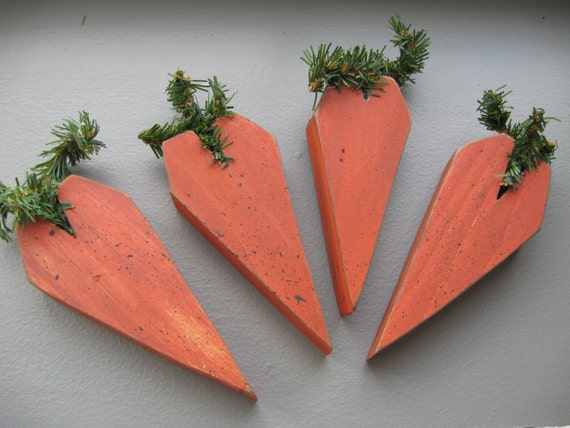 Primitive wood Carrot Bowl fillers, 4 Wooden Carrot make do ornies, Spring Folk art Carrots, wood carrots, Easter carrots for your bunny