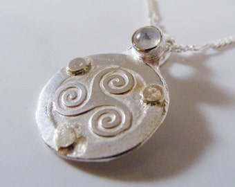 Silver and Gold Celtic Spiral Moonstone Necklace