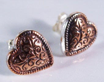 Copper Heart Post Earrings with Sterling Silver Backs