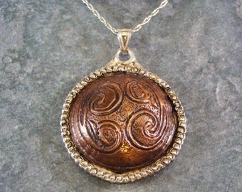 Hand Chased Repousse Celtic Copper and Sterling Silver Necklace
