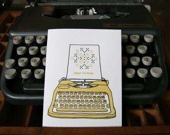 letterpress birthday vintage typewriter card