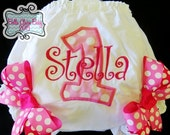 Personalized Pink Bloomers for baby girls toddler- Initial applique Custom design- Fuschia Hot Pink Polka Dot Bows