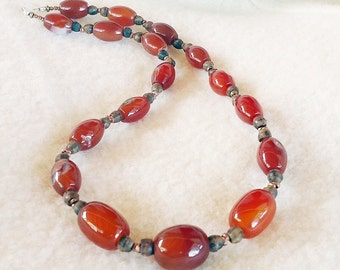 Carnelian, Wood, & African Copper Necklace