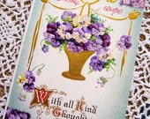 Vintage Postcard, Antique Postcard, paper ephemera, Purple, Aqua, Lavender, Birthday