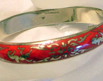 Red Sterling Bangle Bracelet - Vintage - Near Mint - Safety Chain - Red Enamel - Sterling Silver in Lipstick Red