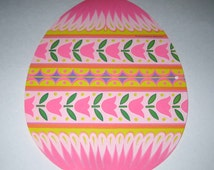 Easter Egg Die Cut Vintage 1970s Cardboard Easter Decoration with Colorful Easter Egg by Beistle