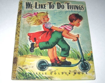We Like to Do Things Vintage 1940s Little Golden Book for Children with Scottie Dog and Halloween