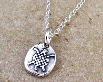 Tiny Silver Turtle Necklace - Turtle Charm - Sterling Turtle Jewelry