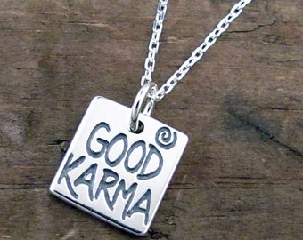 Good Karma Necklace - Inspirational Necklace - Affirmation Jewelry Sterling Silver SP-31