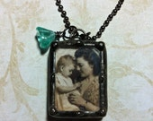 Mothers Day Necklace, Memorial Charm, Soldered Glass Pendant, Personalized With Your Photo, Wedding Keepsake, Something Old