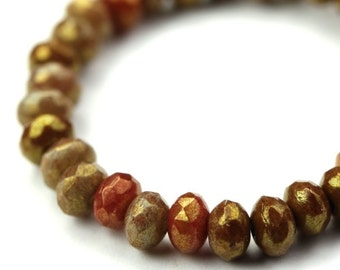 Czech Glass Beads Fire Polished Gemstone Donuts 3x5mm Bronze Luster Mix (30) CZF564