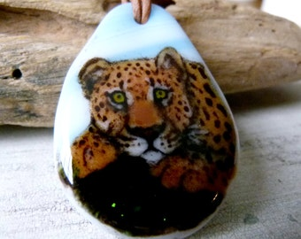 Leopard necklace  - Fused glass pendant