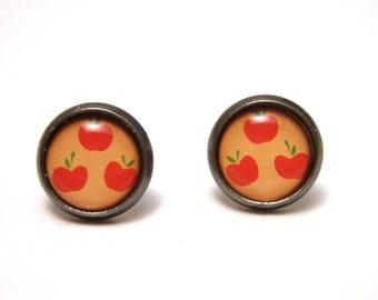 Applejack Studs - My Little Pony Friendship is Magic apple Cutie Mark post earrings - SMALL 10mm - MLP FIM Geekery Geek Chic