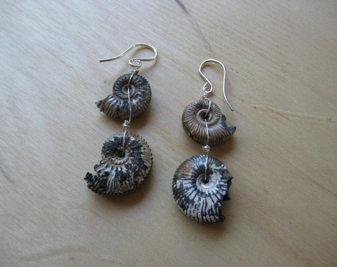 Insouciant Studios Sterling Pyrite Ammonite Earrings