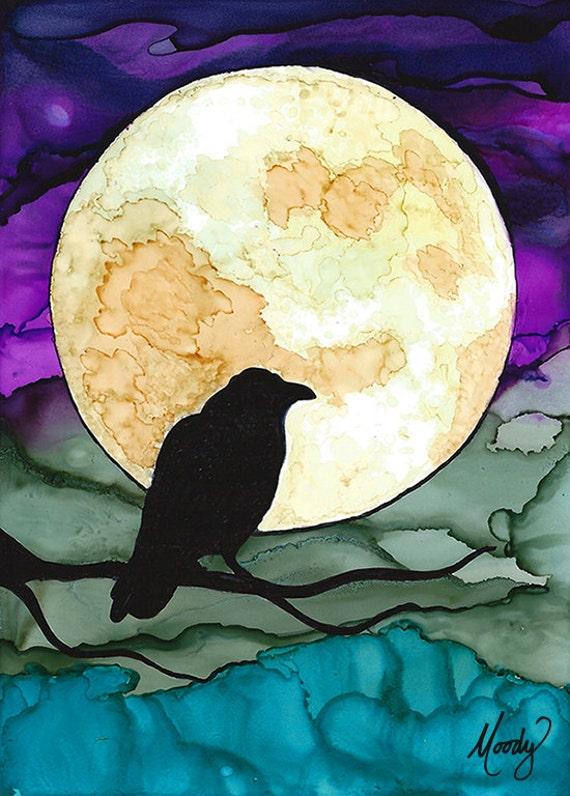 The Raven Original Art Mixed Media Pen Amp Alcohol Inks