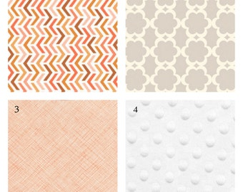 Custom Crib Bedding-3 piece-Peach and Neutrals