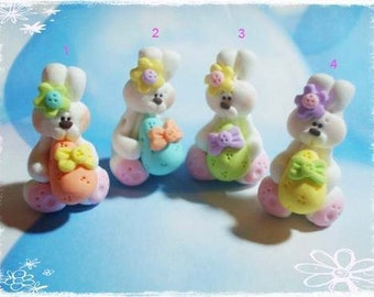 Easter Bunny with Egg Polymer Clay Charm Bead, Scrapbooking, Bow Center, Pendant, Cupcake topper, Magnet, Ring