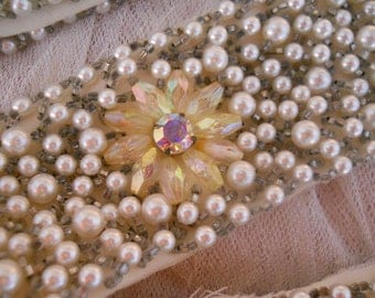 vintage jeweled beaded collar and cuffs, prong set rhinestones, pearl beads, flowers, glass seed & AB beads, vintage salvage, costume design