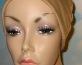 FREE SHIP USA Camel Cotton Hat Liner -Chemo, Cancer, Alopecia, Hijab Liner,  Sleep Cap, Scarf Liner