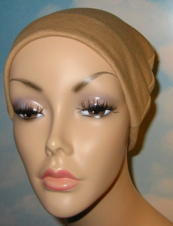 Camel Cotton Hat Liner -Chemo, Cancer, Alopecia, Hijab Liner,  Sleep Cap, Scarf Liner
