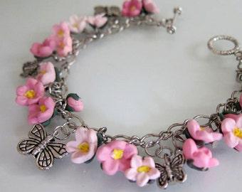 Cherry Blossom Butterfly Bracelet - Handmade Polymer Clay Flower Bracelet - Pink Sakura Bracelet - Pink Flower Bracelet - Pink Jewelry