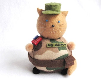 Army Soldier Cat Pincushion - Fat Cat Pincushion - cute felt kitty cat collectable or Gift for sewer Gift for cat lover - MTO
