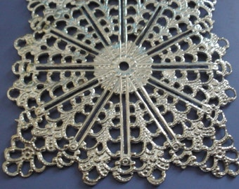 Vintage Brass with Silver Plating Large Filigree