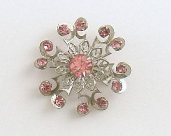 Vintage Brooch Pink Rhinestones Costume Jewelry