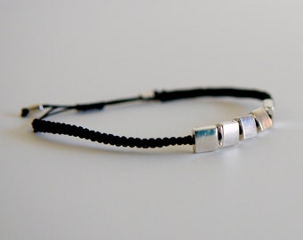 CUSTOM Five Squares Bracelet - silver and poly cord with macrame adjustable sliding knot