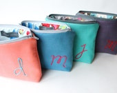 Monogram Cosmetic Bags, Personalized Bridesmaid Gifts for Her, Makeup Pouch, Custom Colors, Set of 4, Set of 5, Set of 6