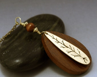 Tree Pendant Necklace, Handsawn Tree Necklace, Wood Teardrop Pendant, Nature Jewelry, Bohemian Jewelry