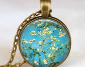 Van Gogh necklace , Almond blossom necklace , Van Gogh almond tree pendant, Van Gogh jewelry, Glass dome pendant