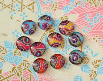 10pcs handmade assorted texture colorful round clear glass dome cabochons / Wooden earring stud 12mm (12-9815)