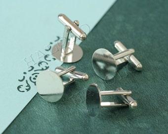 Sale - 10  pcs rhodium finish cufflinks base  - round flat pad 12mm (BN102B)