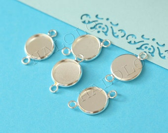 50pcs  silver round gemstones cameo cabochons base setting connectors - for 12mm cab BN370B