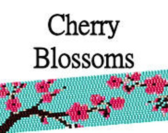 Peyote Pattern Cherry Blossoms Beaded Japanese Asian Floral Cuff Bracelet Digital PDF Pattern 2 Drop Peyote Stitch Delica Seed Bead Pattern