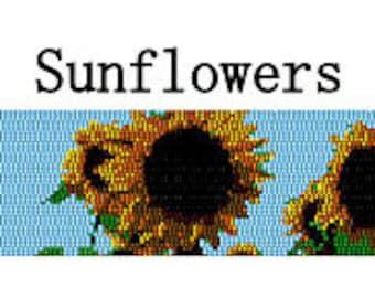 Peyote Bracelet Pattern Sunflowers Blue Sky Digital PDF File Summer 3 Drop Peyote Stitch Delica Seed Beads