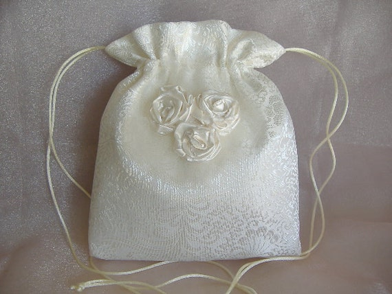 WEDDING BRIDAL IVORY Drawstring Bag w/Wedding Satin Fabric