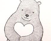 Bear with Heart Ink Drawing Print Bear Illustration Black & White Nursery Art Wall Decor Woodland Love Rustic Simple Home Wall Decor 5x7