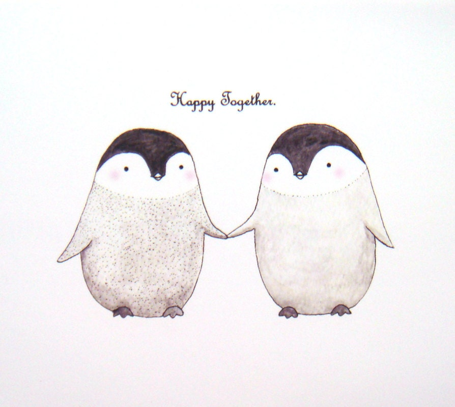 Penguin Illustration Print Unique Wedding Gift for couple