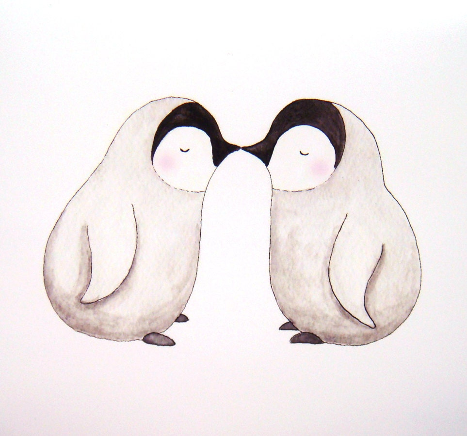 Penguin Couple Drawing