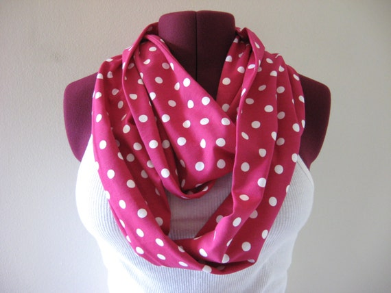 Infinity scarf in chevron, fuscia pink and white dot , extra long, chevron fashion